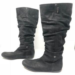 PRADA Tall Black Suede Scrunchy Boots - Sz 37